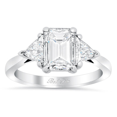 Diamond Three Stone Ring with Trillions