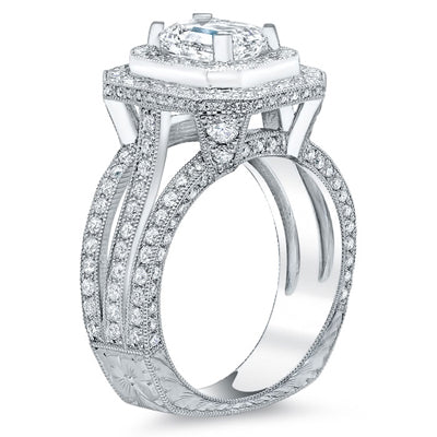 Cushion Halo Round Diamond Engagement Ring