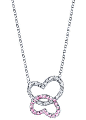 Double Heart Pendant with Diamonds & Pink Sapphires