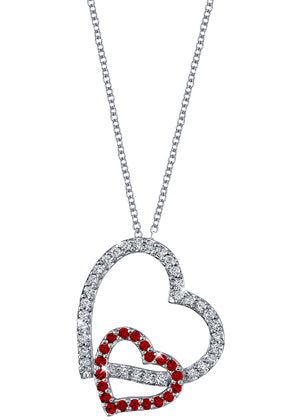 Double Heart Pendant with Diamonds & Rubies