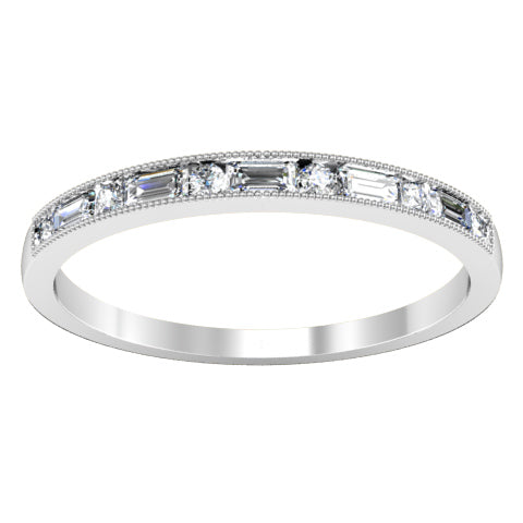East-West Baguette and Round Diamond Accented Wedding Band