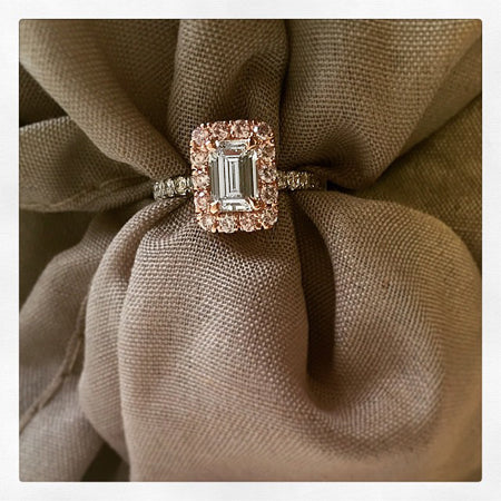 Pink Diamond and Emerald Cut Engagement Ring