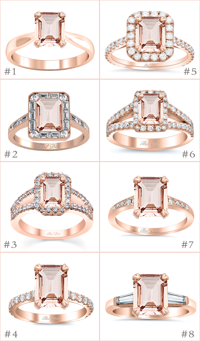 Emerald Cut Morganite Engagement Rings deBebians
