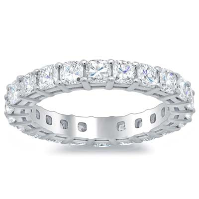 Eternity Bands with Cushion Cut Diamonds