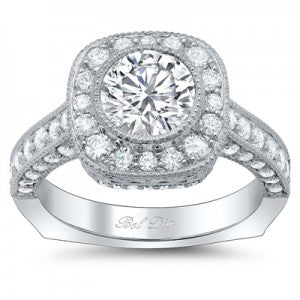 Round Bezel Halo Engagement Rings