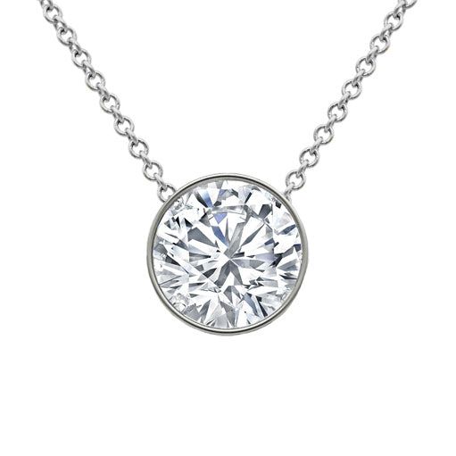 Floating Round Diamond Solitaire Pendant Necklace
