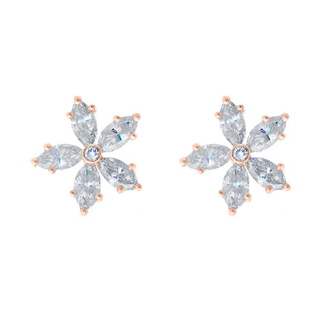 Rose Gold Diamond Flower Studs
