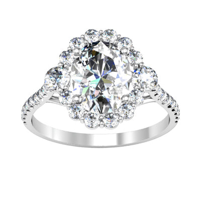 3 Stone Halo Engagement Rings