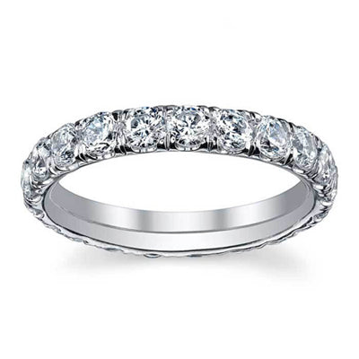 Forever One Moissanite U Pave Eternity Ring