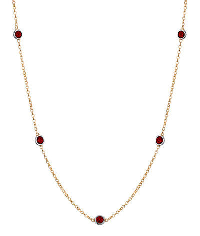 Station Necklace with Garnets
