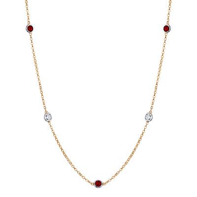 Yellow Gold January Birthstone Necklace
