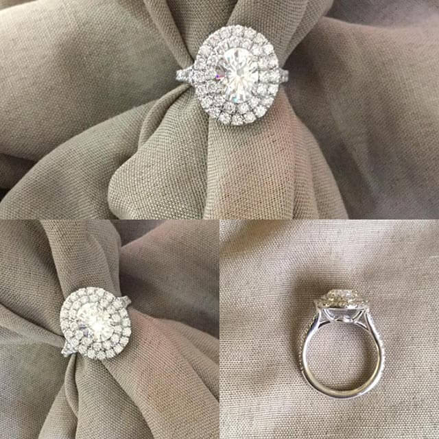 Oval Charles & Colvard Moissanite Double Halo Engagement Ring