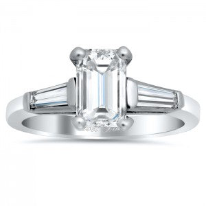Emerald Cut Three Stone Engagement Ring with Tapered Baguettes