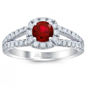 Cushion Halo Engagement Ring for Round Ruby