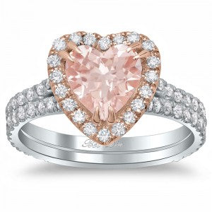 Heart Shaped Morganite Double Shank Engagement Ring