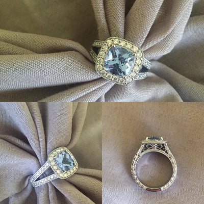 Halo Engagement Ring for Cushion Aquamarine