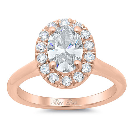 Halo Ring Setting for an Oval Diamond or Moissanite Rose Gold