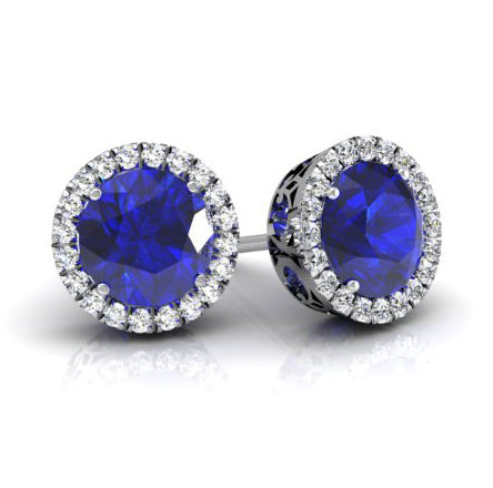 Halo Studs with Blue Sapphires