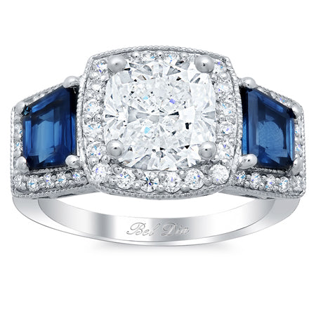 sapphire accented engagement rings with diamond