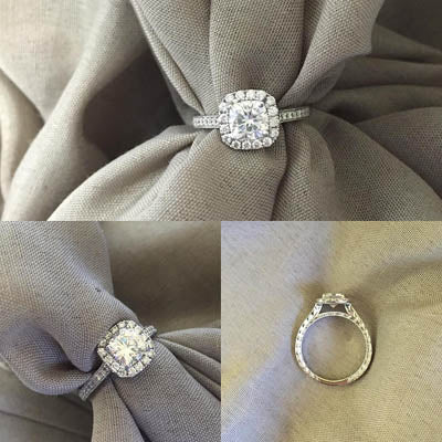 Hand-Engraved Cushion Halo Engagement Ring