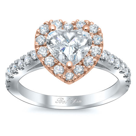Rose and White Gold Two Tone Halo Engagement Rings