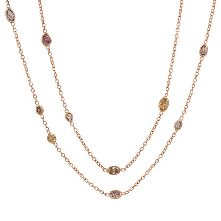 Colored Diamond Station Necklace