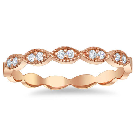 Milgrained Marquise Scalloped Pave Diamond Wedding Ring Rose Gold