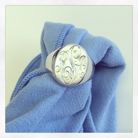 White Gold Men's Signet Ring