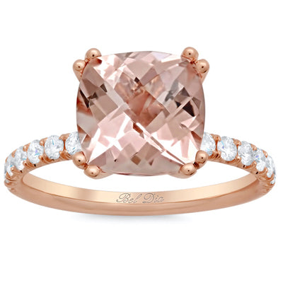 Cushion Cut Morganite Engagement Rings