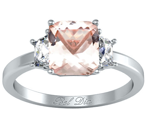 3 stone diamond and morganite engagement ring