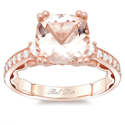 Morganite Three Stone Engagement Ring