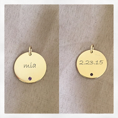 Personalized Gold Disc Pendant with Birthstone