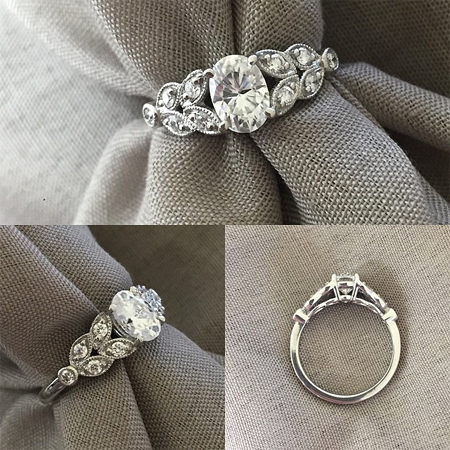 Vintage Style Forever One Engagement Ring