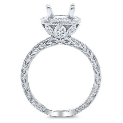 Nature Inspired Oval Halo Engagement Ring with Leaf Basket