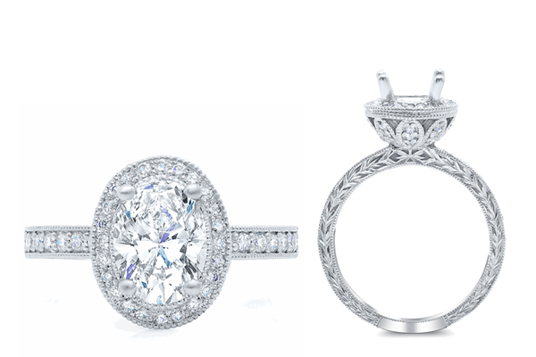 halo engagement rings nature inspired