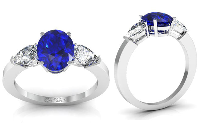 Oval Blue Sapphire Three Stone Engagement Ring
