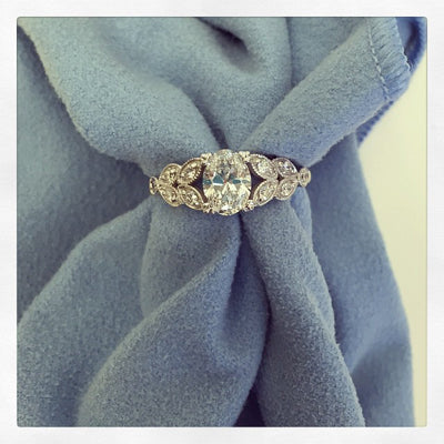 Oval Diamond Leaf Engagement Ring