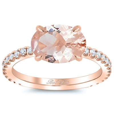 Horizontal Morganite Engagement Ring
