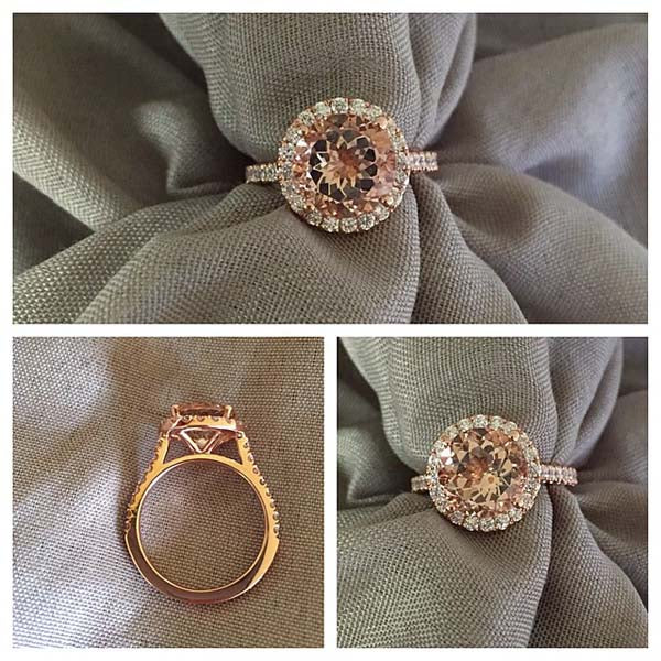 Peach Sapphire Engagement Rings