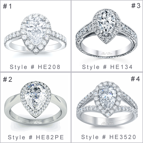 Pear Halo Engagement Ring Settings