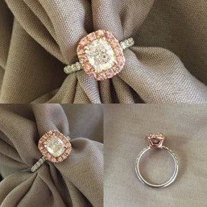 Pink Sappire Halo Engagement Rings