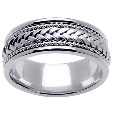 Platinum Wedding Ring 8mm Handmade Wedding Band