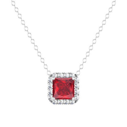 Princess Diamond Halo Pendant with Ruby