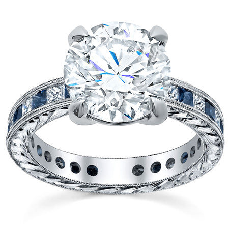 Princess Diamond and Sapphire Accented Hand-Engraved Engagement Ring