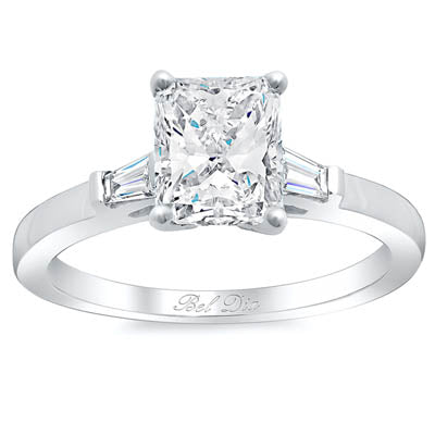 Radiant Three Stone Engagement Ring with Baguettes