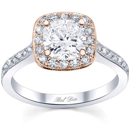 Pink Gold Halo Engagement Rings