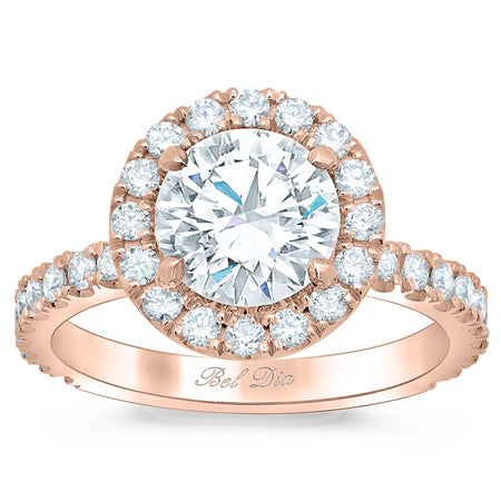 Rose Gold Round Halo Engagement Ring with Diamond Encrusted Basket