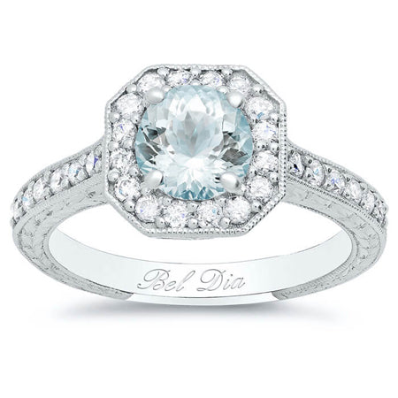 Round Aquamarine in Square Halo Engagement Ring Setting