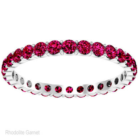 Round Cut Garnet Birthstone Eternity Band