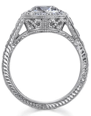 Round Halo Diamond Ring Side